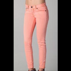 Free People orange cropped skinny jeans